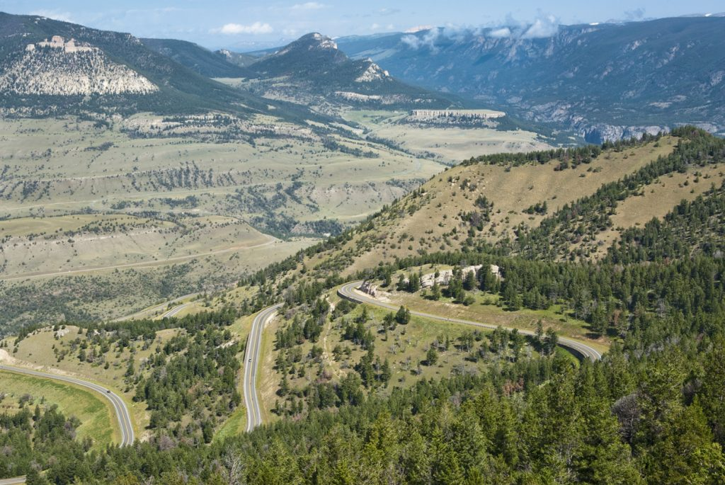 View of the mountains and valleys along the Chief Joseph Scenic Byway in Wyoming. // (credit: Scenic America)