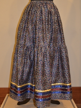 Seminole Navy Floral Ribbon Skirt